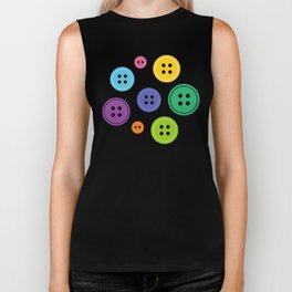 Colorful Rainbow Buttons Biker Tank