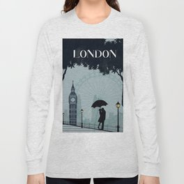 London vintage poster travel Long Sleeve T-shirt