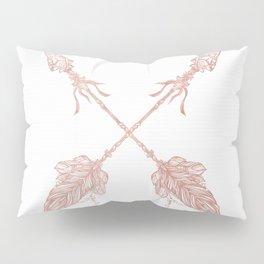 Tribal Arrows Rose Gold on White Pillow Sham