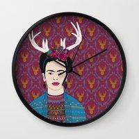 frida Wall Clocks featuring DEER FRIDA by Bianca Green
