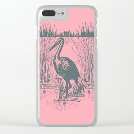 Oriental Exotic Heron & Birds on a Lake Print - Pink Clear iPhone Case