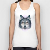 wolf Tank Tops featuring Wolf by Laura Graves