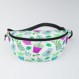 Cute lovely little house plants in glass jars, potted flowers and green leaves cartoons pattern. Fanny Pack