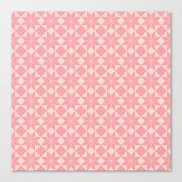 8 Point Star Pattern (Vintage Rose on Blush Pink) Canvas Print