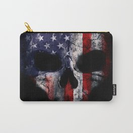 American Flag Punisher Skull Grunge Distress USA Carry-All Pouch