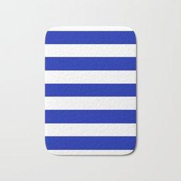 Blue (Pantone) - solid color - white stripes pattern Bath Mat