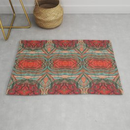 Coral Red Teal Modern Agate Damask Abstract Rug