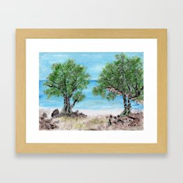 Kefalonia acrylic painting on canvas scanned at 600dpi Framed Art Print