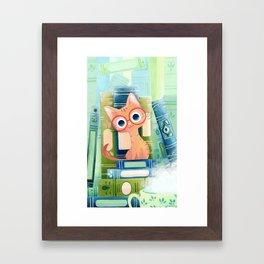 Ginger cat with glasses Framed Art Print