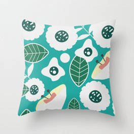 Sweet floral dream in blue Throw Pillow