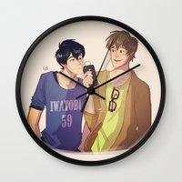 iwatobi Wall Clocks featuring Mako and Haru by Gianbe
