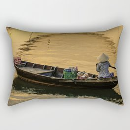 Boat on the River at Sunset Rectangular Pillow