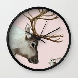 Reindeer and rabbit Wall Clock