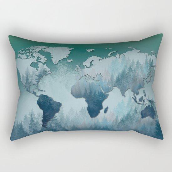 world map forest 4 Rectangular Pillow