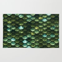 bisexual Area & Throw Rugs featuring Aqua and green sparkling scales by Better HOME