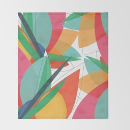Abstract multicolored tropical flower, bird of paradise, superimposed shapes and transparencies Throw Blanket