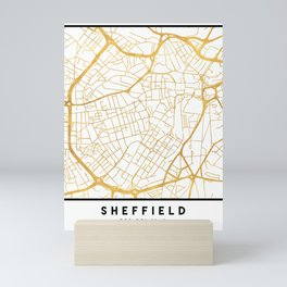 SHEFFIELD ENGLAND CITY STREET MAP ART Mini Art Print