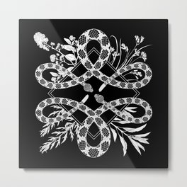 Desert Altar (black) - Rattlesnakes with Native California Herbs Metal Print