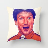 robin williams Throw Pillows featuring Young Robin Williams  by Thubakabra