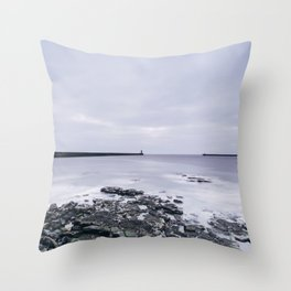 North and South Pier Lighthouse at dawn. Tynemouth, Northumberland, UK. Throw Pillow