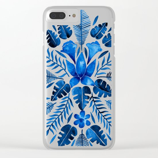 Tropical Symmetry – Navy Clear iPhone Case