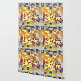 abstract geometrical art in blue yellow orange purple brown grey color Wallpaper