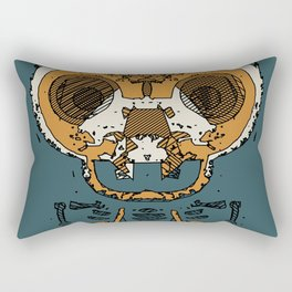 orange and brown skull and bone graffiti drawing with green background Rectangular Pillow