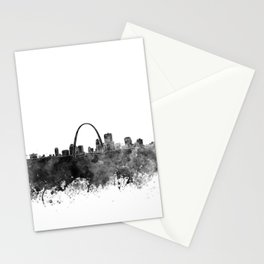 St Louis skyline in black watercolor Stationery Cards