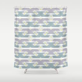 Mix of formal and modern with anemones and stripes 3 Shower Curtain