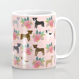 Pitbull Terrier flowers cute dog art pet portraits custom dog breed must have pitbull owner gifts Coffee Mug