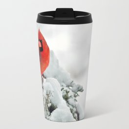 Cardinal on Snowy Branch #2 Travel Mug
