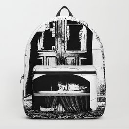 Vulture: door and window on pink wall Backpack