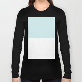 White and Light Cyan Horizontal Halves Long Sleeve T-shirt