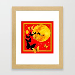 Butterfly Moon in Red Color Art Framed Art Print