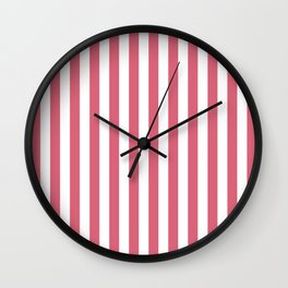 Large Nantucket Red and White Cabana Tent Stripes Wall Clock