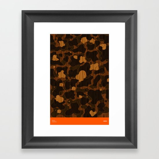 Modern Woodgrain Camouflage / Duck Print Framed Art Print
