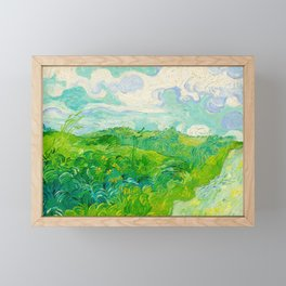 Field with Green Wheat 1890 Oil Painting By Vincent Van Gogh Framed Mini Art Print