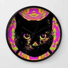 Purple Streak Quad Cat Wall Clock