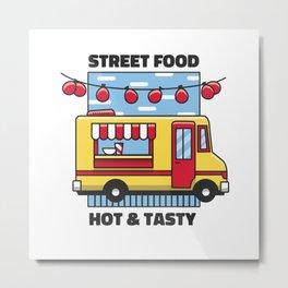 Street Food truck hot & tasty Metal Print