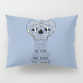 Cute Skull See no Evil Pillow Sham