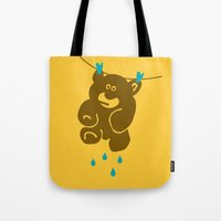 kindle Tote Bags featuring Teddy's Wet by Efon Vee