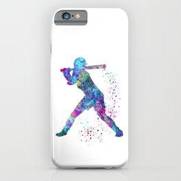 Girl Baseball Player Softball Batter Colorful Watercolor Blue Art iPhone Case