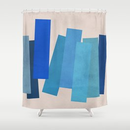 Blue Rectangles Shower Curtain