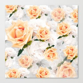 YELLOW ROSES WHITE ROSES Canvas Print