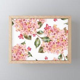 Watercolor Pink Hydrangea Pattern on White Framed Mini Art Print
