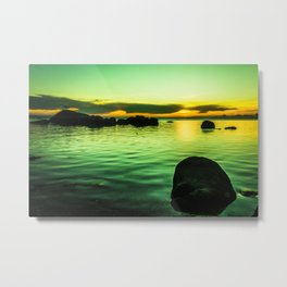 Green sunset by sea Metal Print