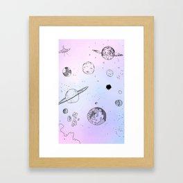 cute space drawing Framed Art Print