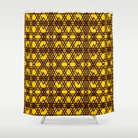 yellow pattern Shower Curtains featuring yellow pattern by dedoma