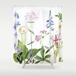 Botanical Garden Flower Wildflower Watercolor Art Shower Curtain