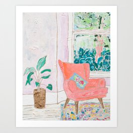 A Room with a View - Pink Armchair by the Window Art Print